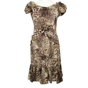 Blumarine Italian Cheetah Silk Dress